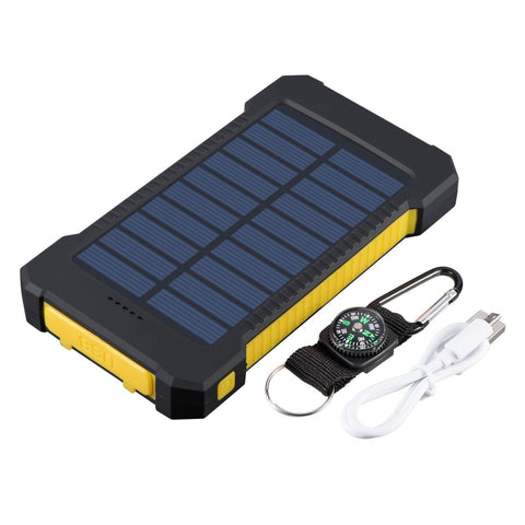Portable 12000 mah Dual USB Solar Battery Charger Power Bank Flashlight Compass - Rewardeals