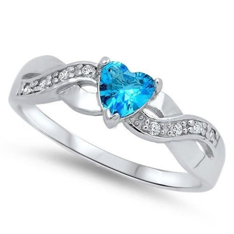 LAGGRA Women .925 Sterling Silver Infinity Heart Shaped Blue Topaz Promise Ring - Rewardeals