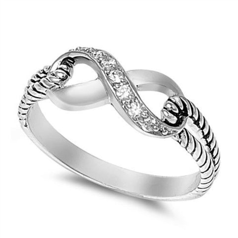 LAGGRA Women Elegant Infinity Knot Clear Zirconia Sterling Silver Promise Ring - Rewardeals