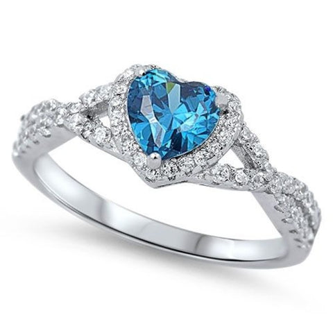 LAGGRA Women Beautiful Blue Heart Topaz CZ Sterling Silver Promise Ring - Rewardeals
