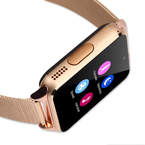 Bluetooth Rose Gold Smart Wrist Watch with Built-In Camera for Android iPhone - Rewardeals