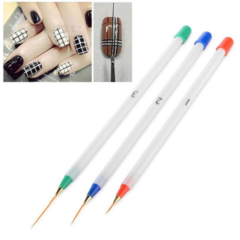 DIY Nail Art Acrylic Drawing Painting Striping UV Gel Pen Brush (Set of 3) - Rewardeals