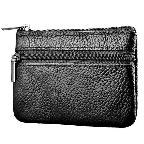 Bestselling Unisex Genuine Leather Card Coin Key Holder Zip Pouch - Black - Rewardeals