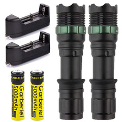 10000 Lumen Aluminum Zoomable CREE XML T6 LED Tactical Flashlight (2 Pack) - Rewardeals