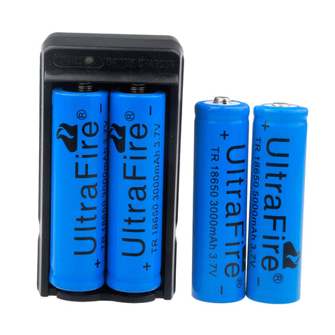 3000mAh 18650 Battery 3.7v Li-ion Rechargeable Battery and Charger (Set of 4) - Rewardeals