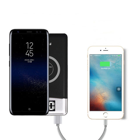 10000mAh Power Bank Qi Wireless Charging 2 USB LCD LED Portable Battery Charger - Rewardeals