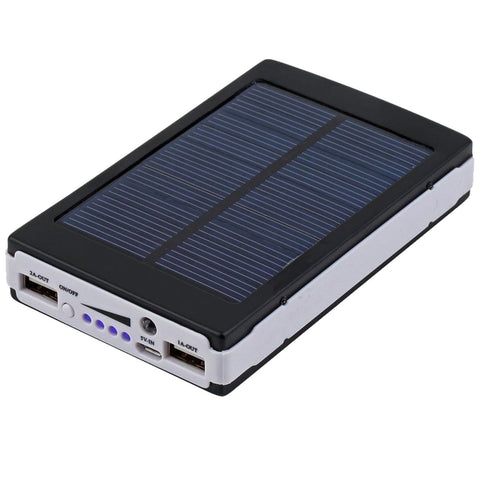 Black 80000mAh Dual USB Portable Solar Battery Charger Power Bank - Rewardeals