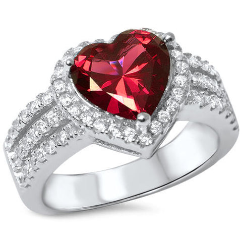 LAGGRA 3ct Heart Shape Ruby .925 Sterling Silver Engagement Promise Ring - Rewardeals