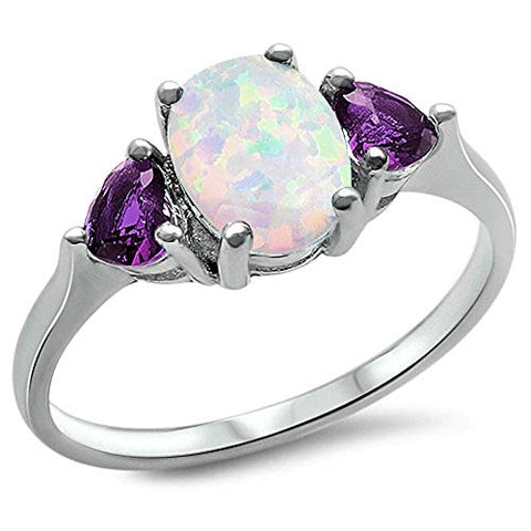 LAGGRA White Opal and Amethyst.925 Sterling Silver Ring - Rewardeals
