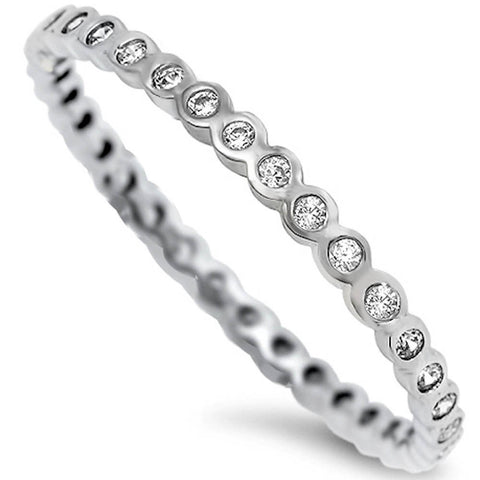 LAGGRA Stackable Band CZ Eternity Band .925 Sterling Silver Ring - Rewardeals