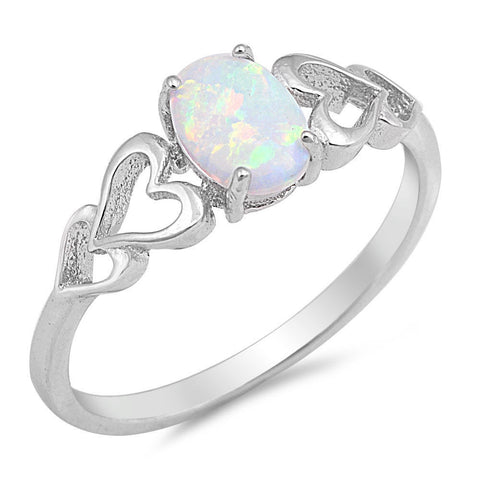 LAGGRA White Opal Heart Cutout Promise Engagement Ring .925 Sterling Silver - Rewardeals