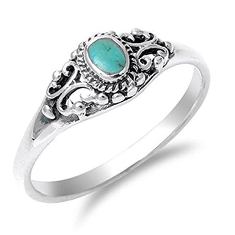 LAGGRA Vintage Turquoise Classic .925 Sterling Silver Band Ring - Rewardeals