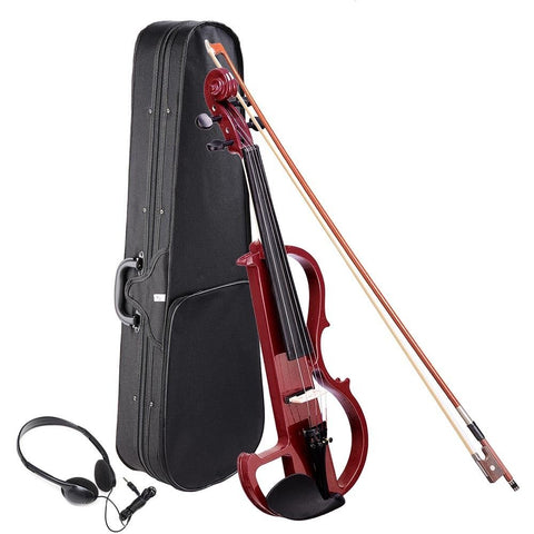 4/4 Black Electric Violin with Case Bow Battery Headphone Set - Rewardeals
