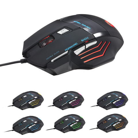 Computer Gaming Mouse DPI 7 Button USB LED Light Optical Wired Mice - Rewardeals