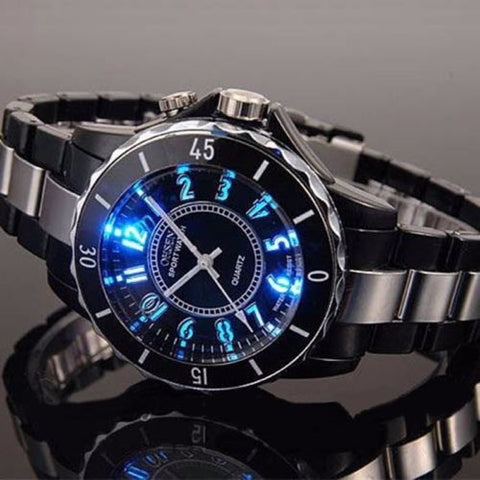 Classic LED Backlight Stainless Steel Sport Quartz Wrist Watch - Rewardeals