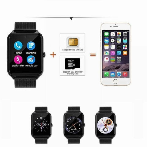 Bluetooth GSM SIM Card Mate Stainless Steel Smart Watch - Rewardeals