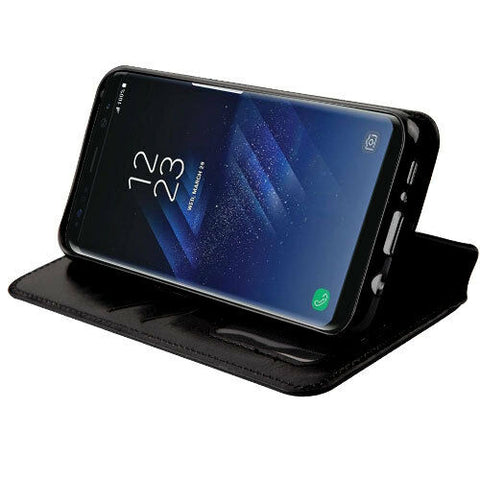 Black Leather Flip Fold Wallet Case Cover Stand for Samsung GALAXY S8 S8 Plus - Rewardeals
