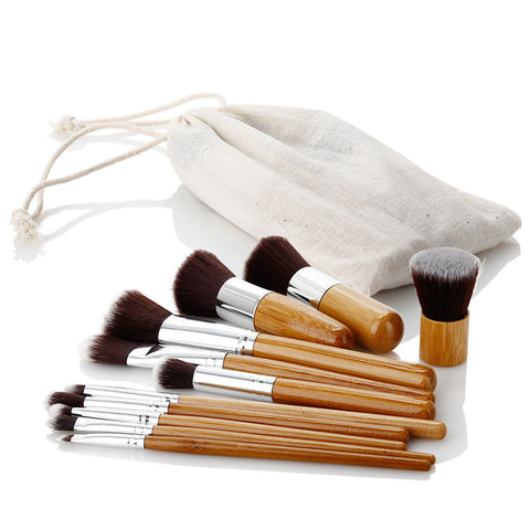 LAGGRA Super Soft Makeup Brush Set with Natural Bamboo Handles (Set of 11) - Rewardeals