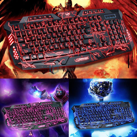 3 Color LED Backlight Multimedia Wired USB Gaming Keyboard - Rewardeals