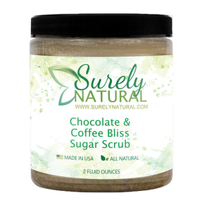 A jar of natural sugar scrub with mocha fragrance from Surely Natural