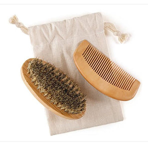 A beard brush and comb set and the muslin bag it comes in from Surely Natural