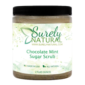 A jar of natural sugar scrub with chocolate mint fragrance from Surely Natural