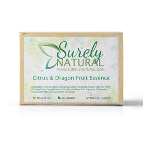 A packaged bar of citrus and dragon fruit scented artisan soap, handcrafted by Surely Natural