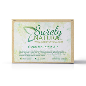 A packaged bar of clean mountain air scented artisan soap, handcrafted by Surely Natural