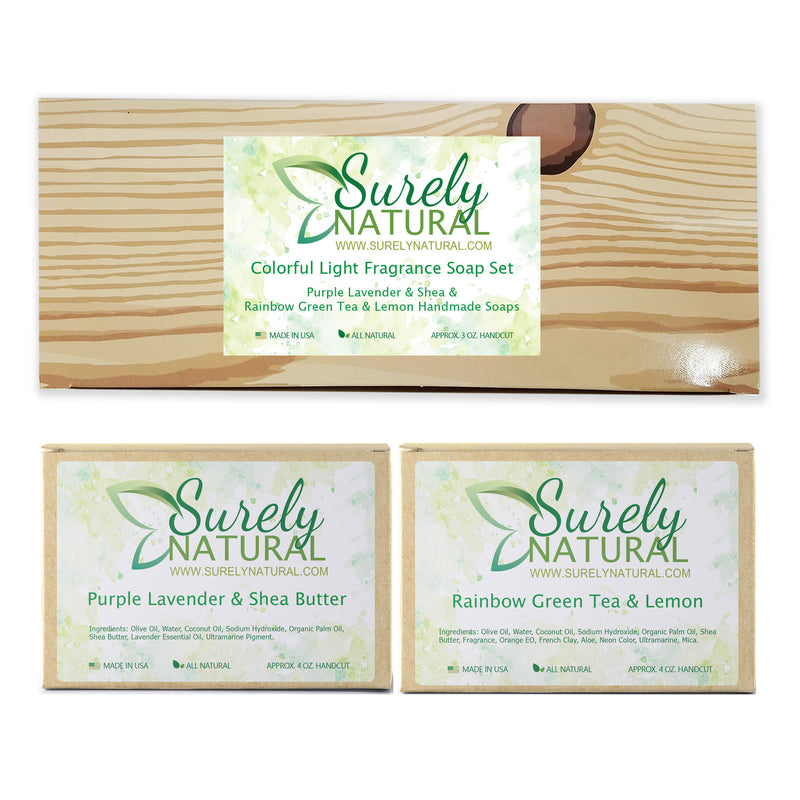 Colorful Light Fragrance All Natural Soap Gift Set (Lavender and Green Tea with Lemon)