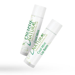 A tube of all-natural lip balm with cool mint flavor from Surely Natural