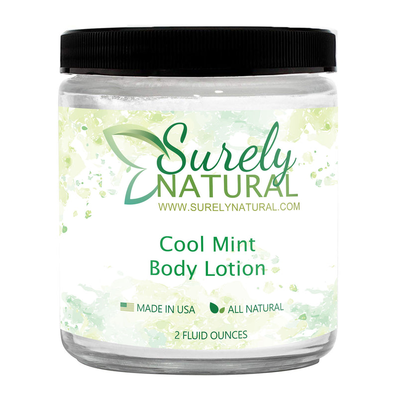A bottle of all-natural lotion with cool mint fragrance from Surely Natural