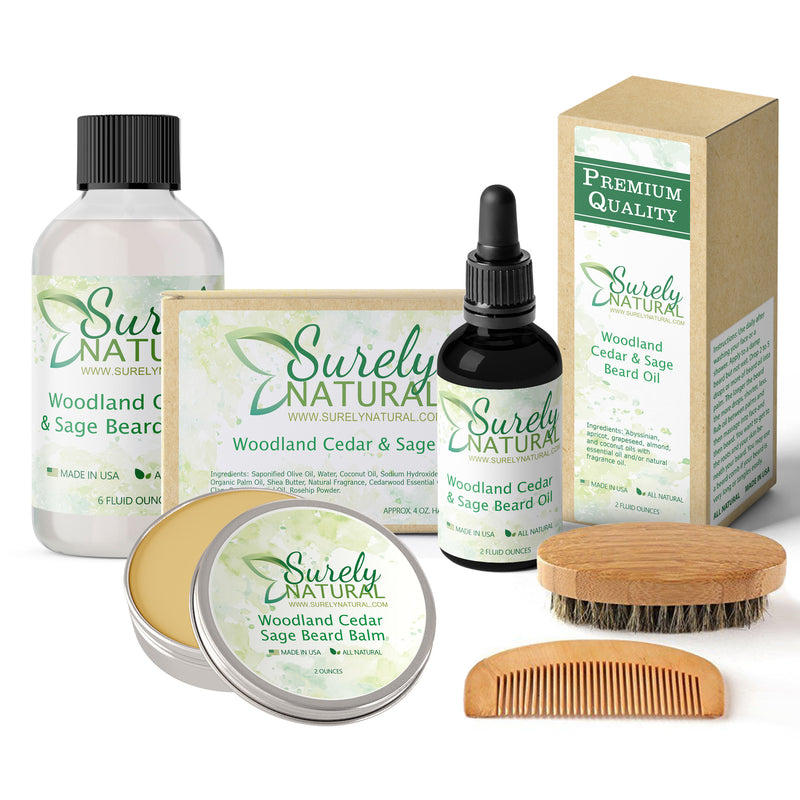 Natural Beard and Body Care Gift Set - Woodland Cedar and Sage