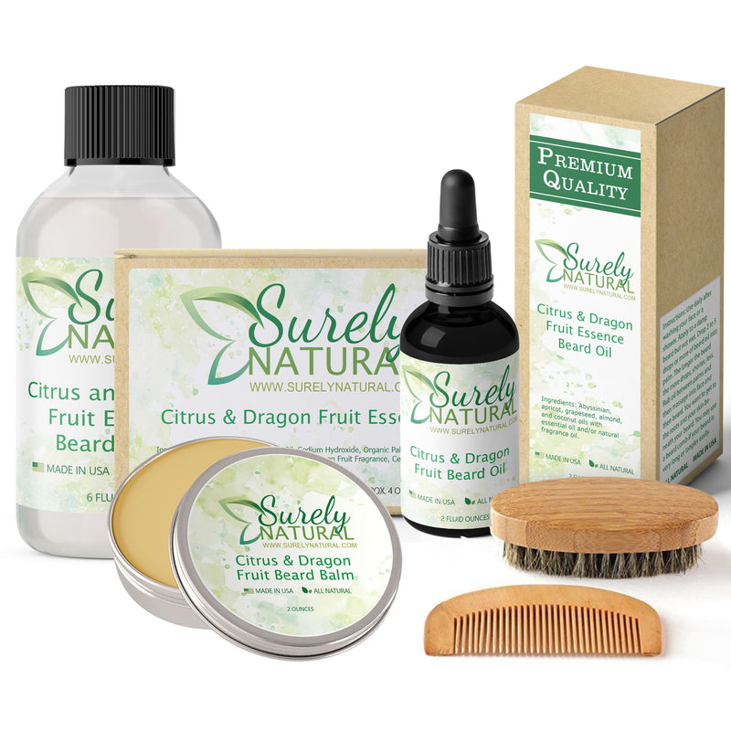 Natural Beard and Body Care Gift Set - Citrus and Dragon Fruit Essence