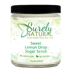 A jar of natural sugar scrub with sweet lemon fragrance from Surely Natural