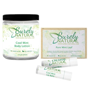 Natural Lotion, Lip Balm and Soap Gift Set (Peppermint)