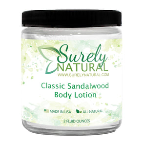A bottle of all-natural lotion with classic sandalwood fragrance from Surely Natural