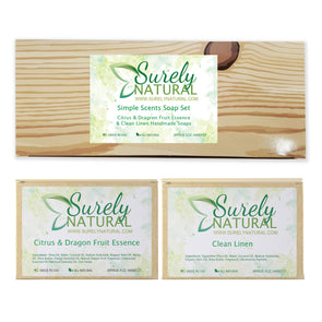Simple Scents All Natural Soap Gift Set (Citrus Dragon Fruit and Clean Linen)