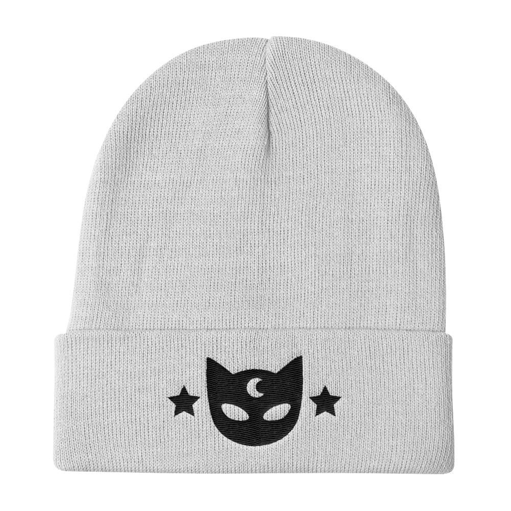 White Galaxy Kitty Knit Beanie