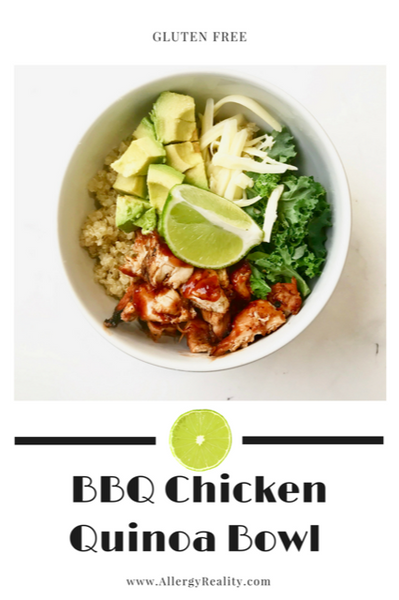 Gluten Free BBQ Chicken Quinoa Bowl from Allergy Reality.  Grab the easy recipe on www.allergyreality.com