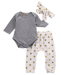 Newborn Baby Long Sleeve Gray Clothing Set 3Pcs