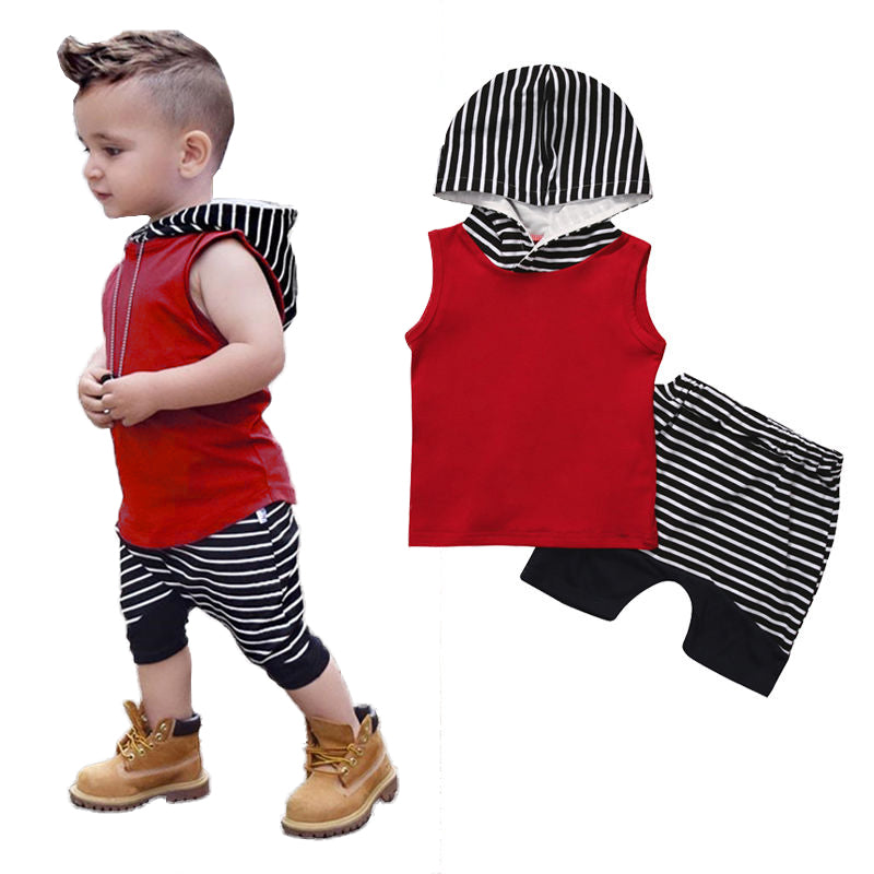 Baby Stripped Casual Hooded Clothing Set