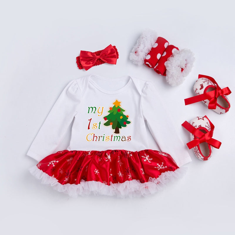 Newborn Baby 1st Christmas Clothing Set 4Pcs