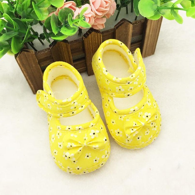 Newborn Baby Bowknow Flower Printed Shoes