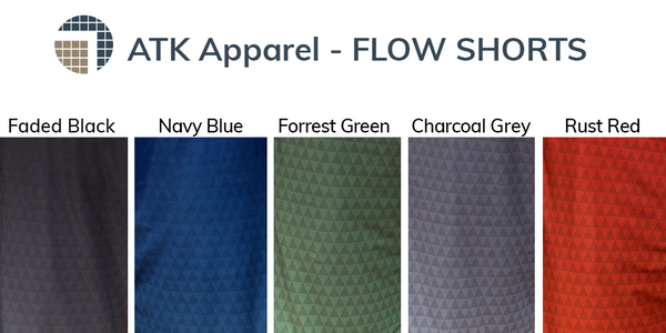 Flow shorts color choices include faded black, navy blue, forrest green, charcoal grey, and rust red.