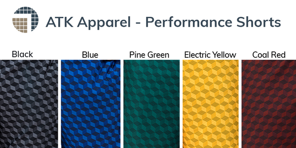 Performance Shorts color choices include: black, blue, pine green, electric yellow and coal red.