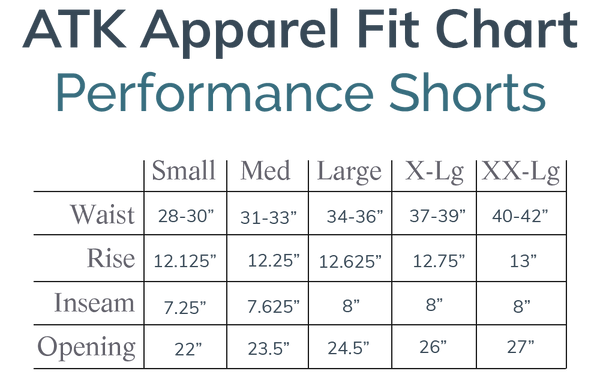 The Fit Chart for the ATK Apparel performance shorts. Tailored waist size, rise, inseam and leg opening.