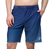Athletic shorts for shorter men by ATK Apparel. Flow Shorts with moisture-wicking material in blue.