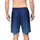 Athletic shorts for shorter men by ATK Apparel. Flow Shorts with moisture-wicking material in blue -- back view.