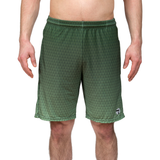 Athletic shorts for shorter men by ATK Apparel. Flow Shorts with in green with a triangle pattern and slight ombre effect.