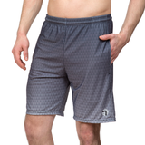 Athletic shorts for shorter men by ATK Apparel. Flow Shorts with in grey with a triangle pattern and slight ombre effect.